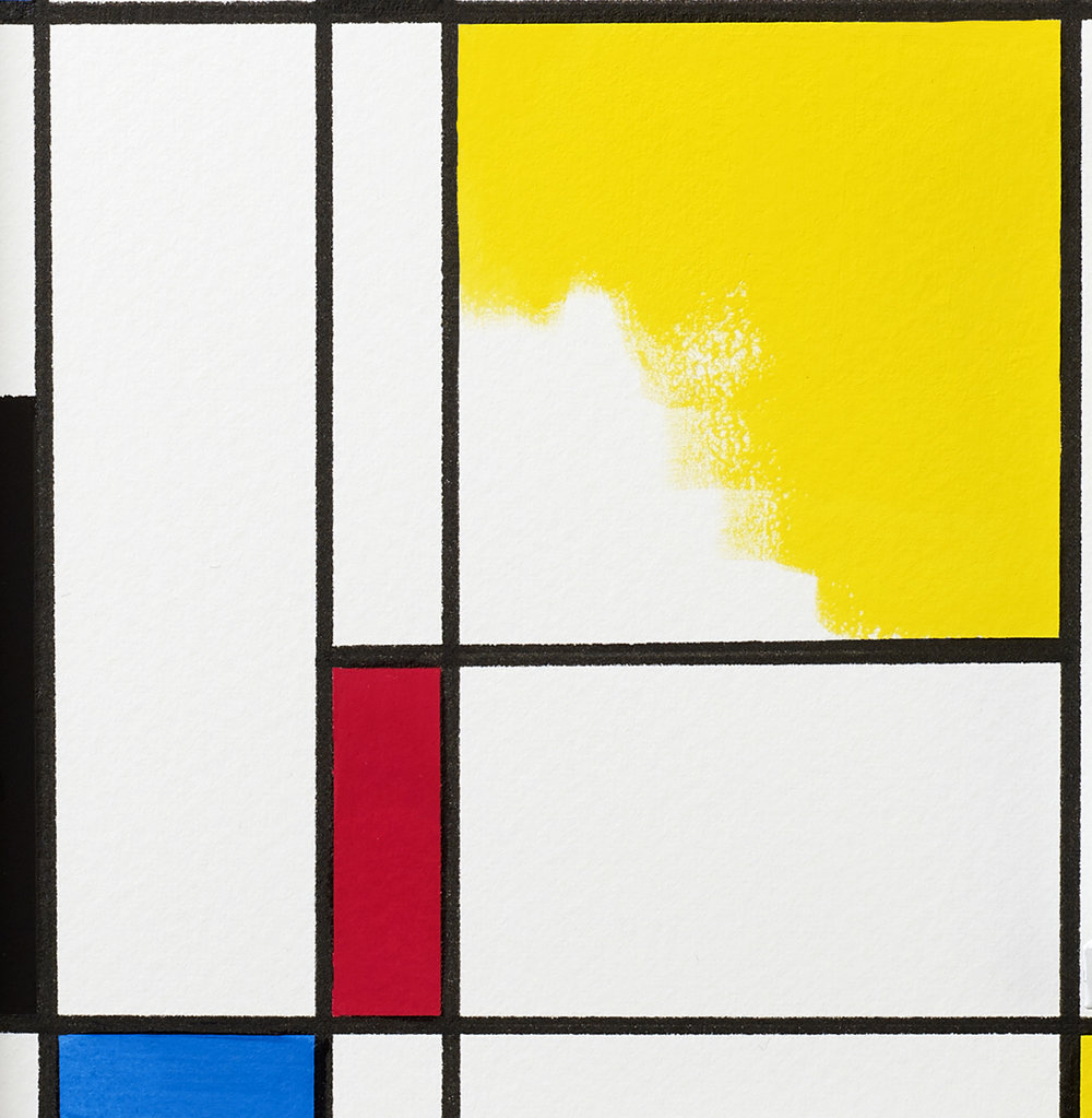 Designer Gouache demonstrated in the style of Piet Mondrian