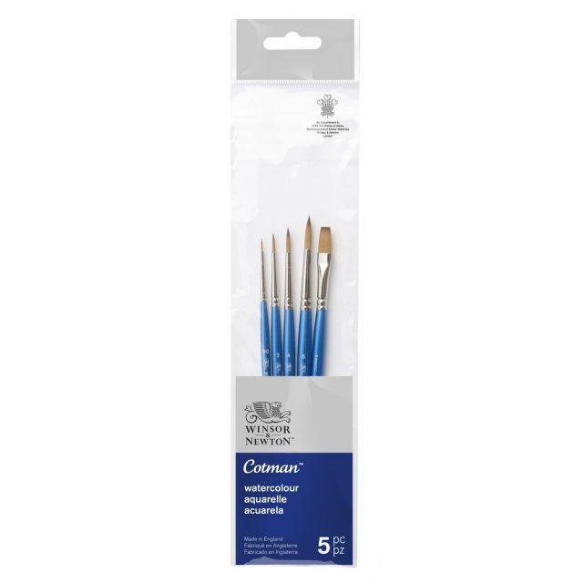 Image of Winsor & Newton Cotman Brush Short Handle - Pack of 5