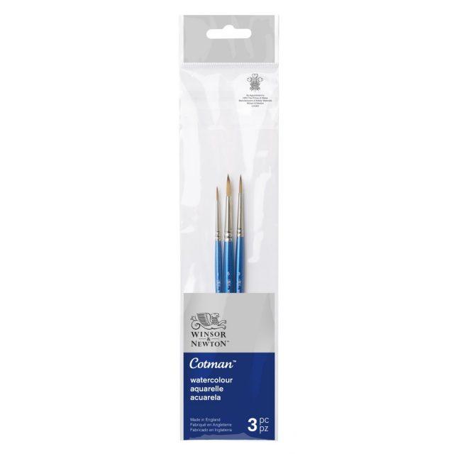 Image of Winsor & Newton Cotman Brush Short Handle Pack of 3 Set 1