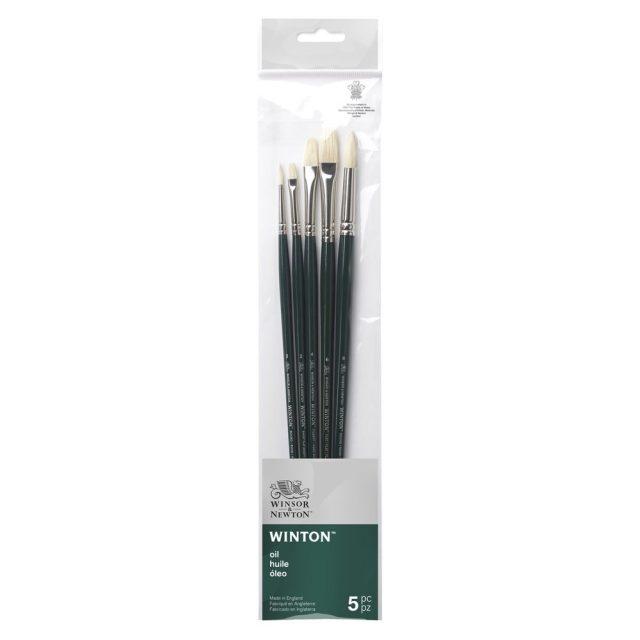 Image of Winsor & Newton Winton Brush Long Handle Pack of 5