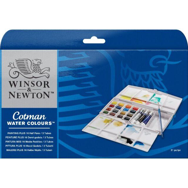 Image of Winsor & Newton Cotman Watercolours Painting Plus - 16 Half Pans & 3 Tubes