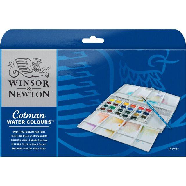 Image of Winsor & Newton Cotman Watercolours Painting Plus 24 Half Pan Set
